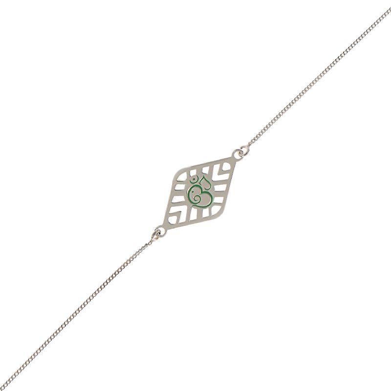 0.925 Silver Green Om Silver Rakhi