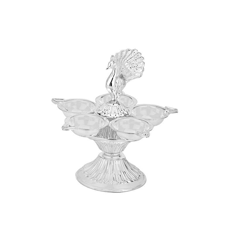 0.925 Silver Silver Panchmukhi Peacock Diya