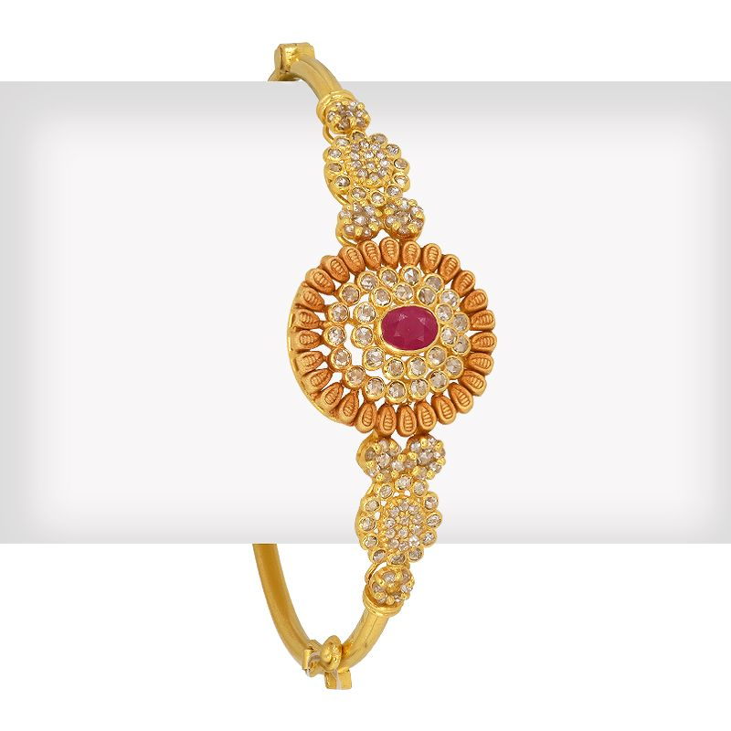 18k Diamond Ruby Diamond Floral Bangle
