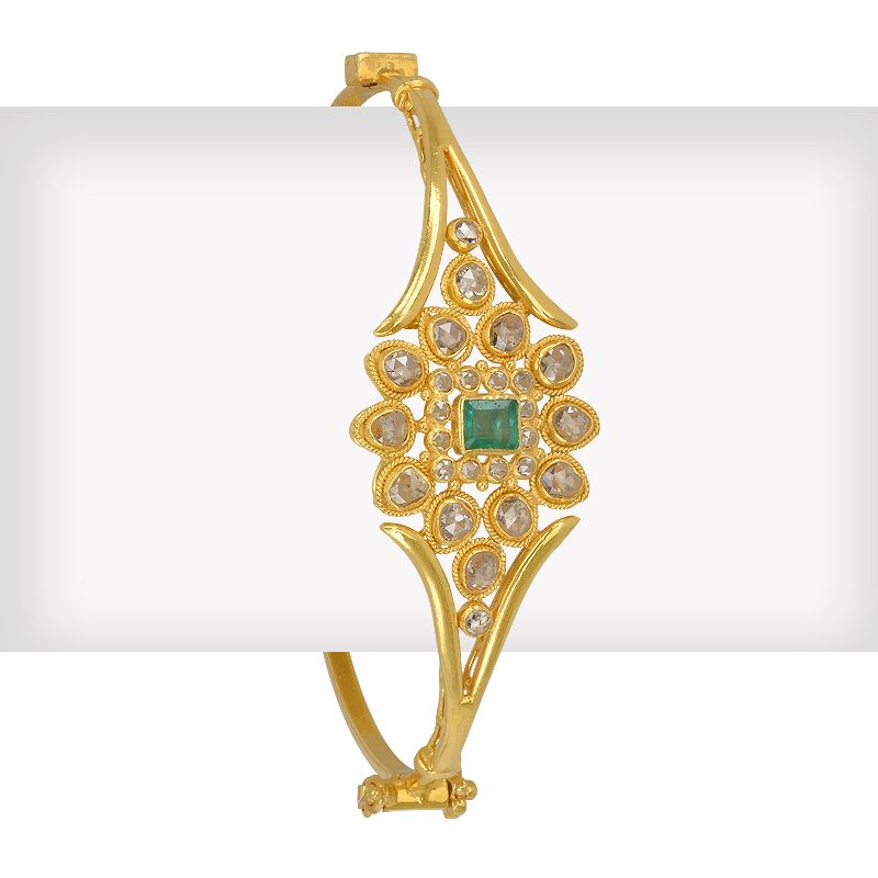 18k Diamond Emerald Diamonds Bangle Bracelet