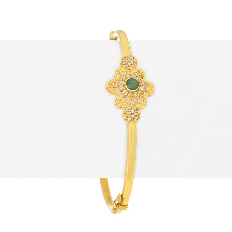 22k Diamond Floral Uncut Diamond Bangle