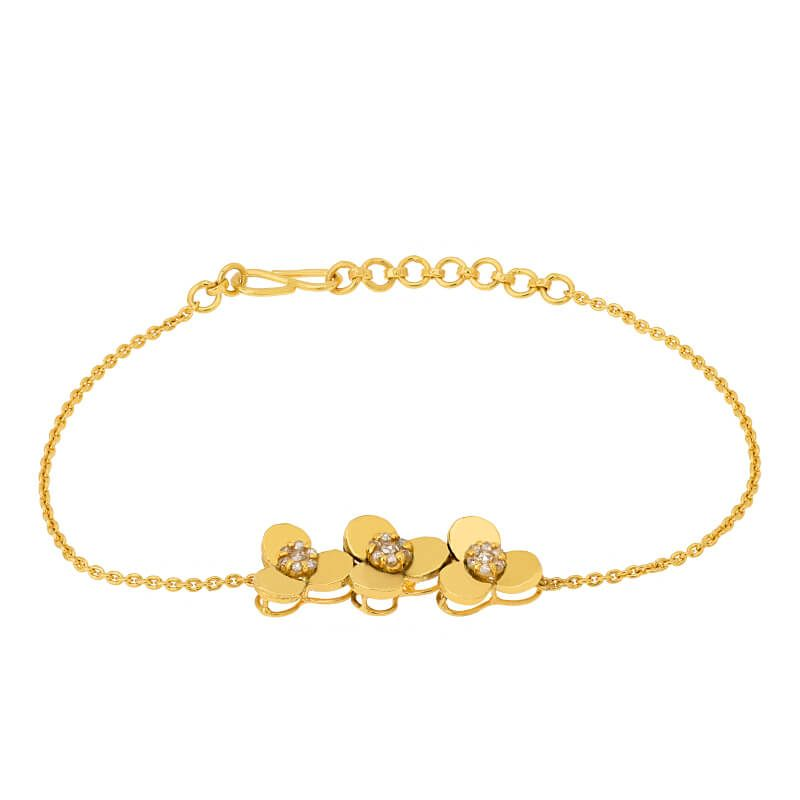 22k Diamond Clover Uncut Diamond Bracelet