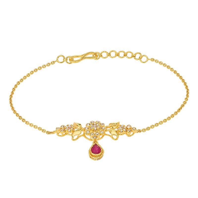 22k Diamond Ruby Uncut Diamond Bracelet