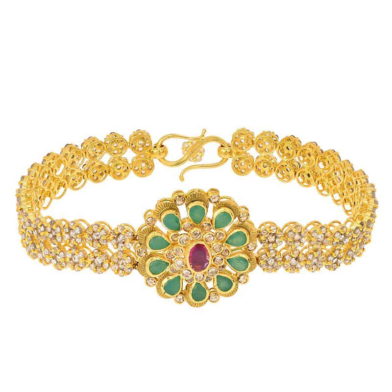 22k Diamond Flores Uncut Diamond Bracelet