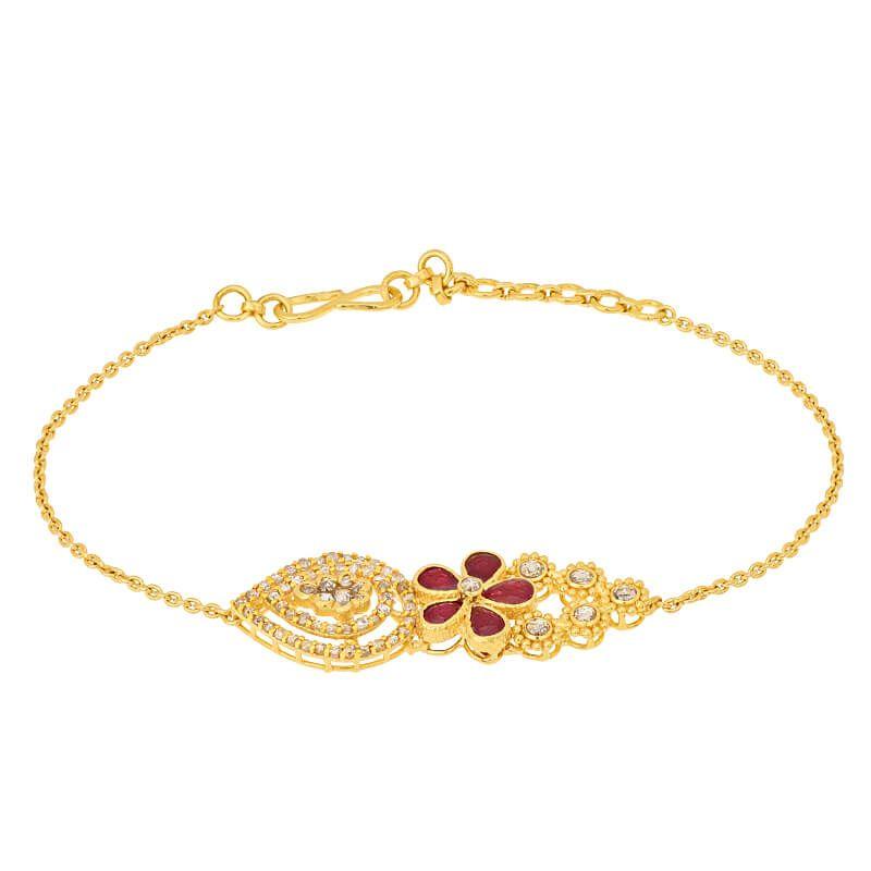 22k Diamond Fleur Uncut Diamonds Bracelet