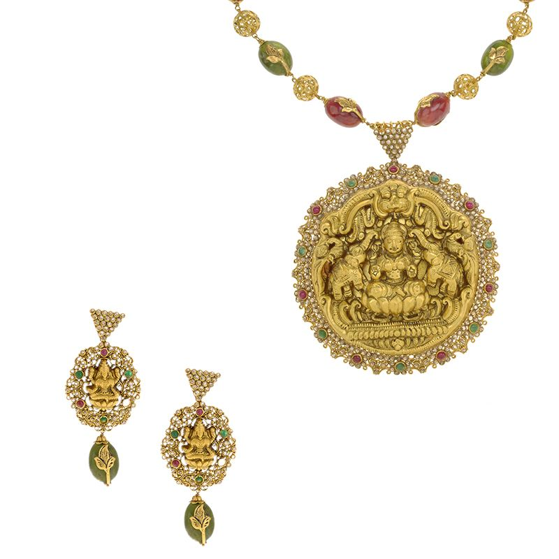 22k Diamond Lakshmi Pendant Beads Necklace