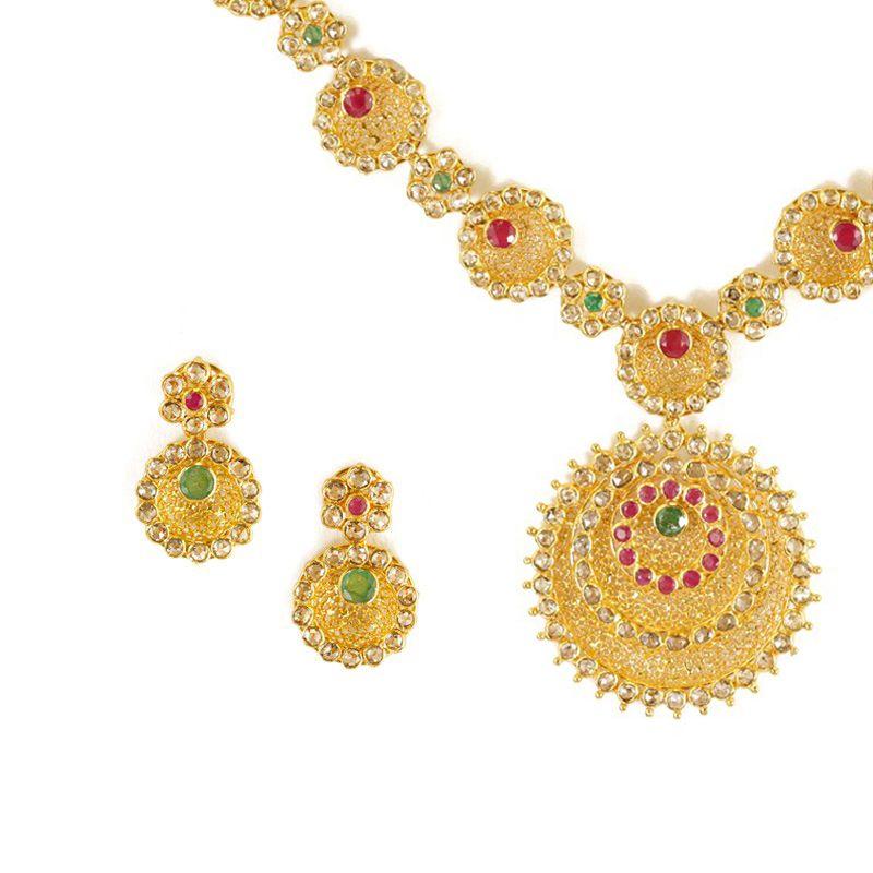 22k Diamond Periphery Uncut Diamonds Necklace