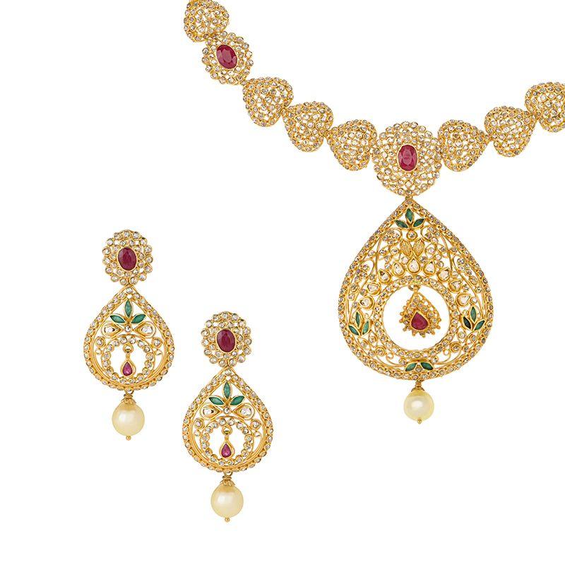 22k Diamond Uncut Diamonds Drop Necklace