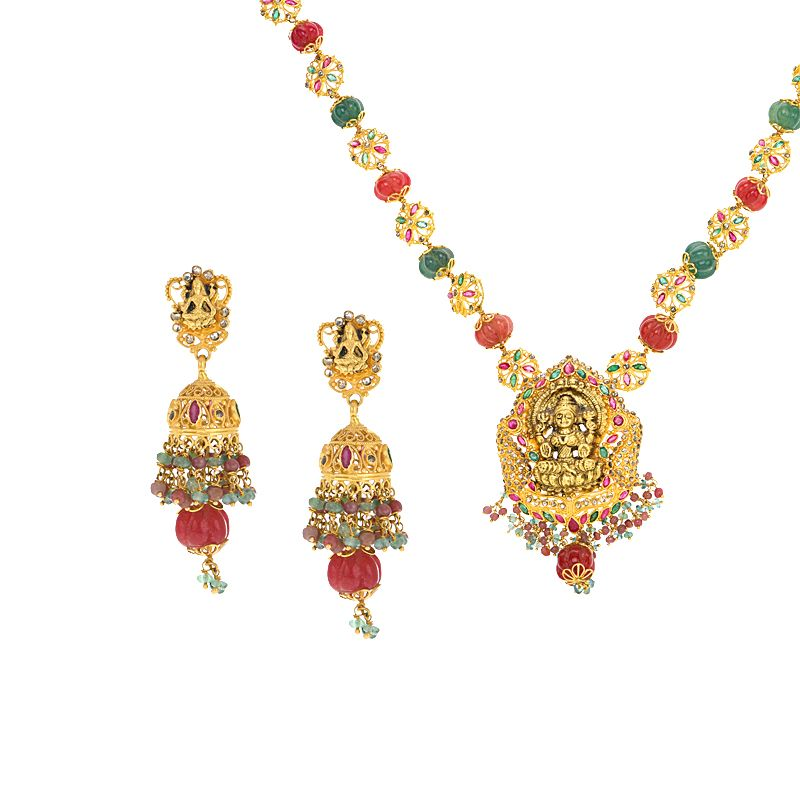 22k Diamond Lakshmi Diamond Gems Necklace
