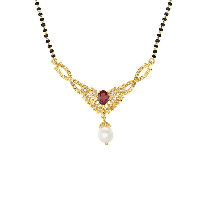 22k Gold Uncut Diamonds Gems Mangalsutra