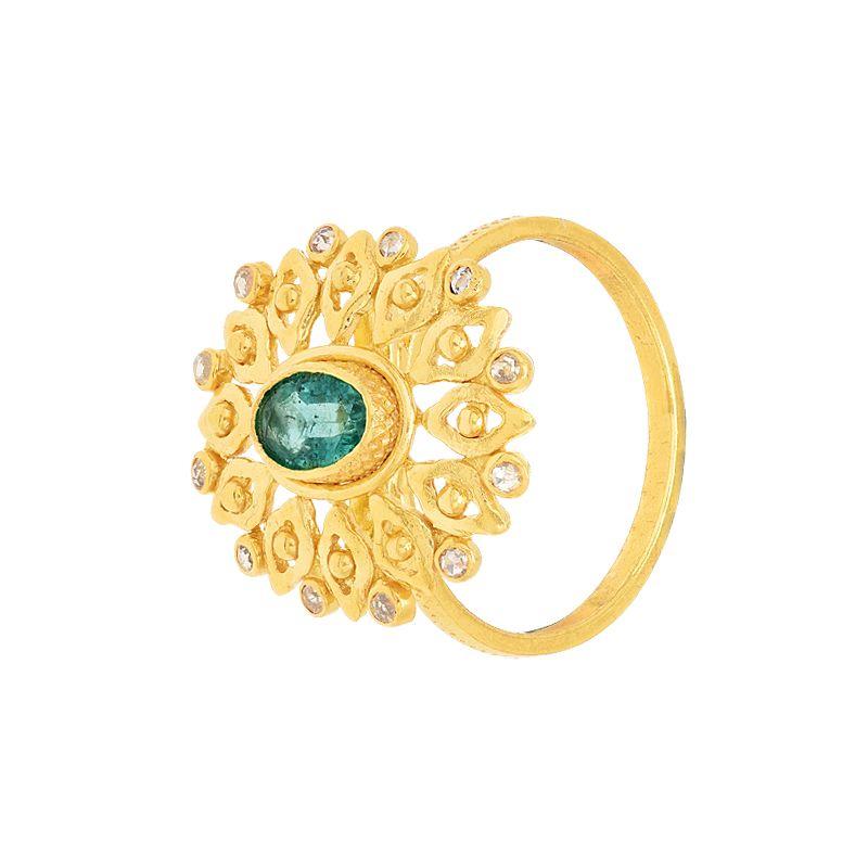 22k Diamond Emerald Uncut Diamond Ring