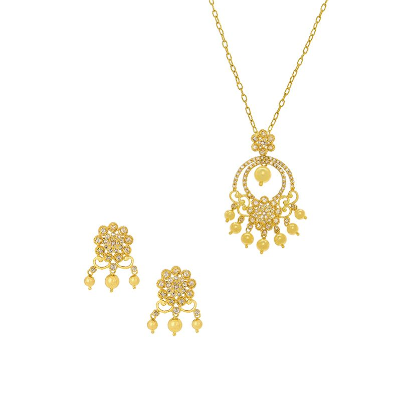 22k Diamond Diamond Pearls Pendant Set