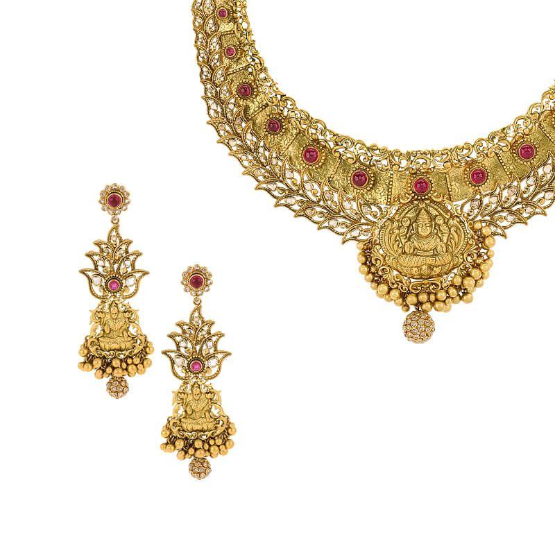 22k Diamond Lakshmi Uncut Diamond Necklace