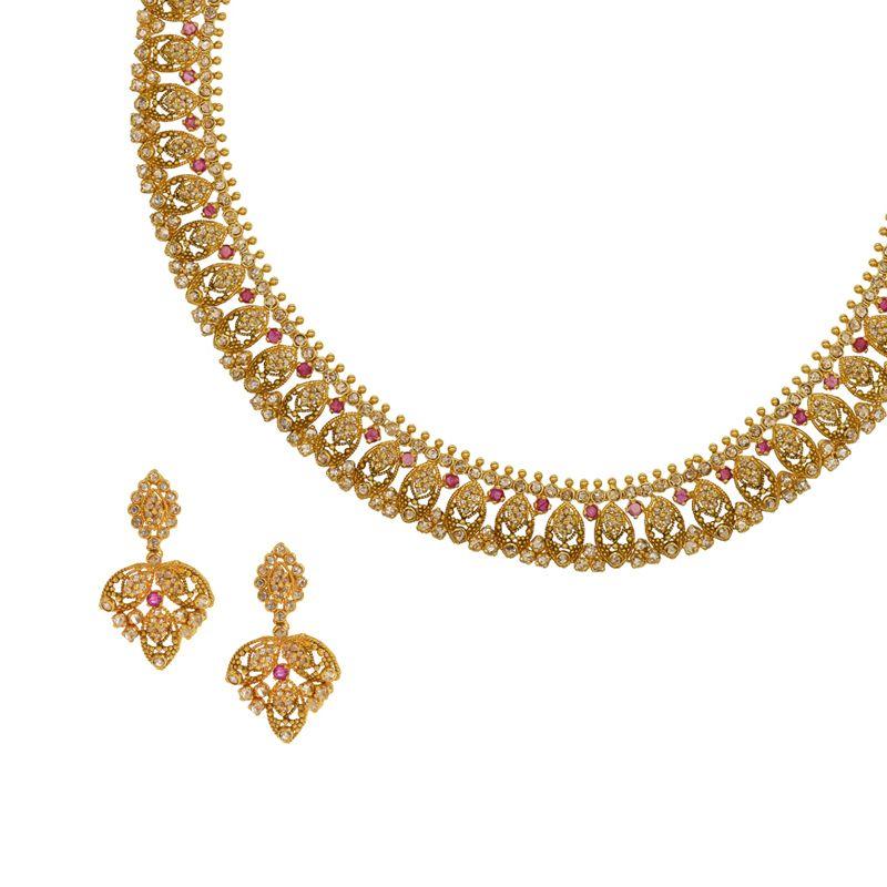 22k Diamond Sunehri Uncut Diamonds Necklace