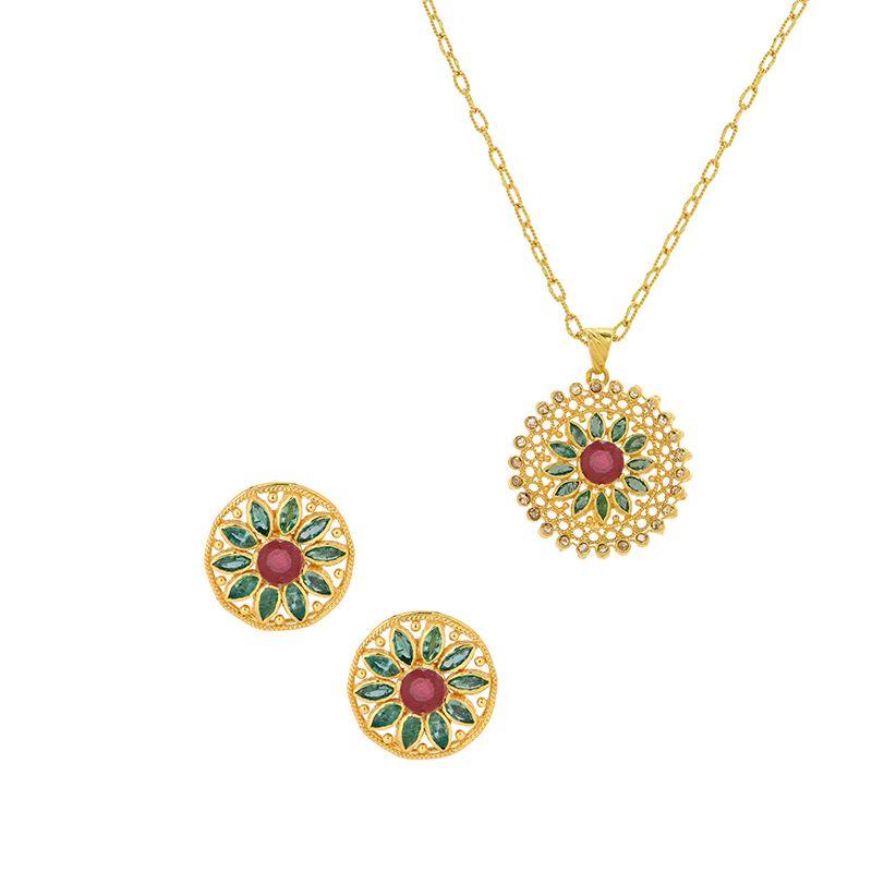 22k Diamond Round Floral Pendant Set