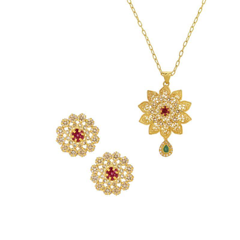 22k Diamond Floras Diamond Pendant Set