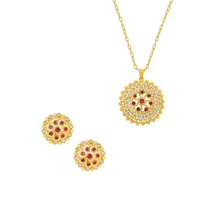 22k Diamond Round Flora Diamond Pendant Set