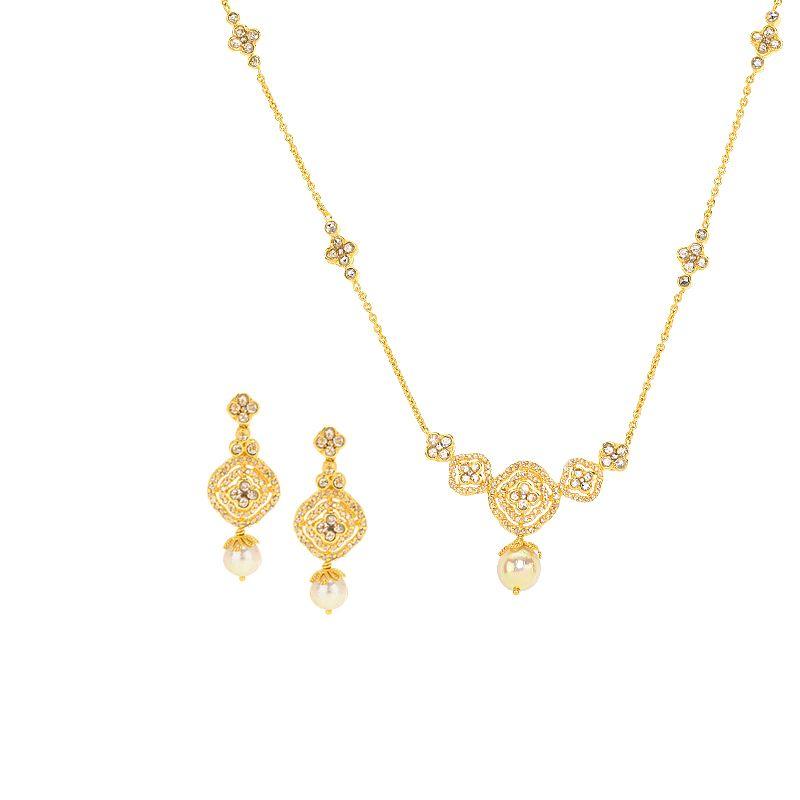 22k Diamond Uncut Diamond Pearl Necklace