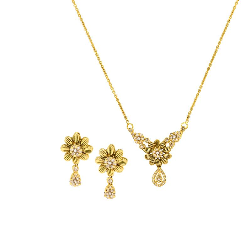 22k Diamond Uncut Diamond Daisy Necklace