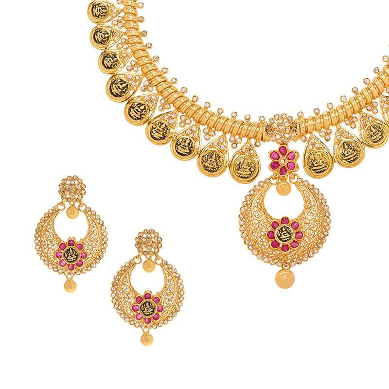 22k Diamond Chandbali Lakshmi Diamond Necklace