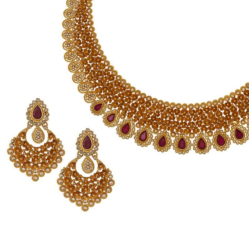 22k Diamond Floral Uncut Diamond Necklace