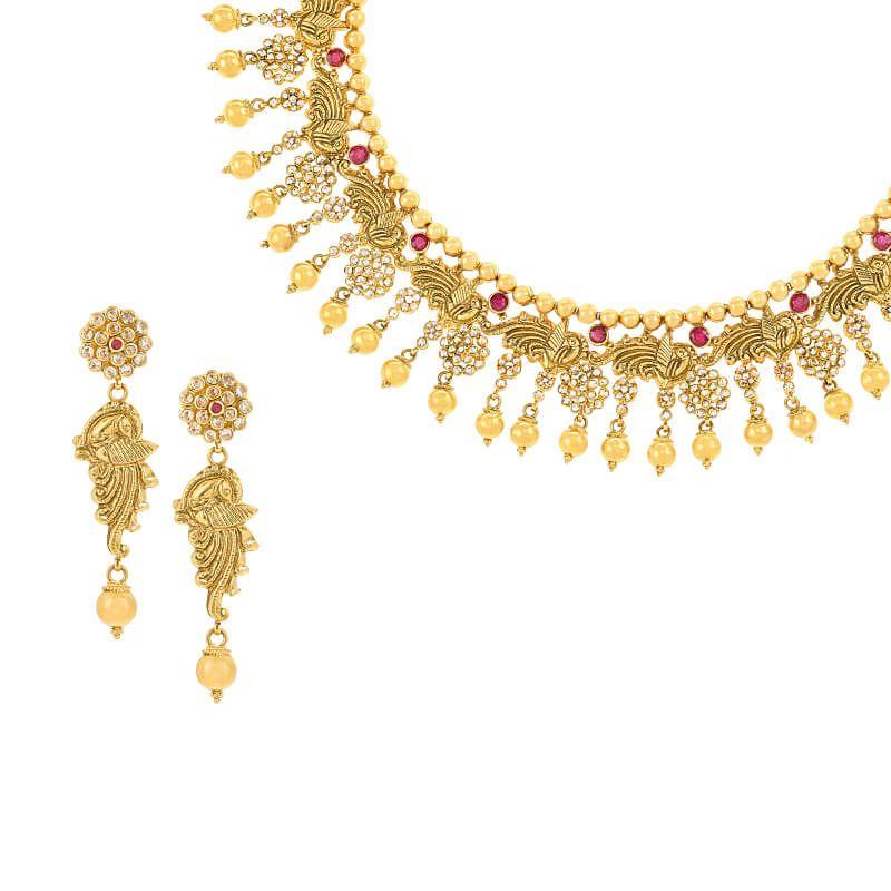 22k Diamond Peacock Uncut Diamonds Necklace
