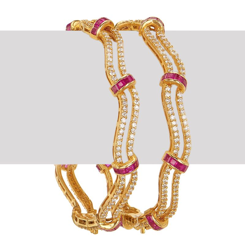 18k Diamond Diamond Ruby Waves Bangles