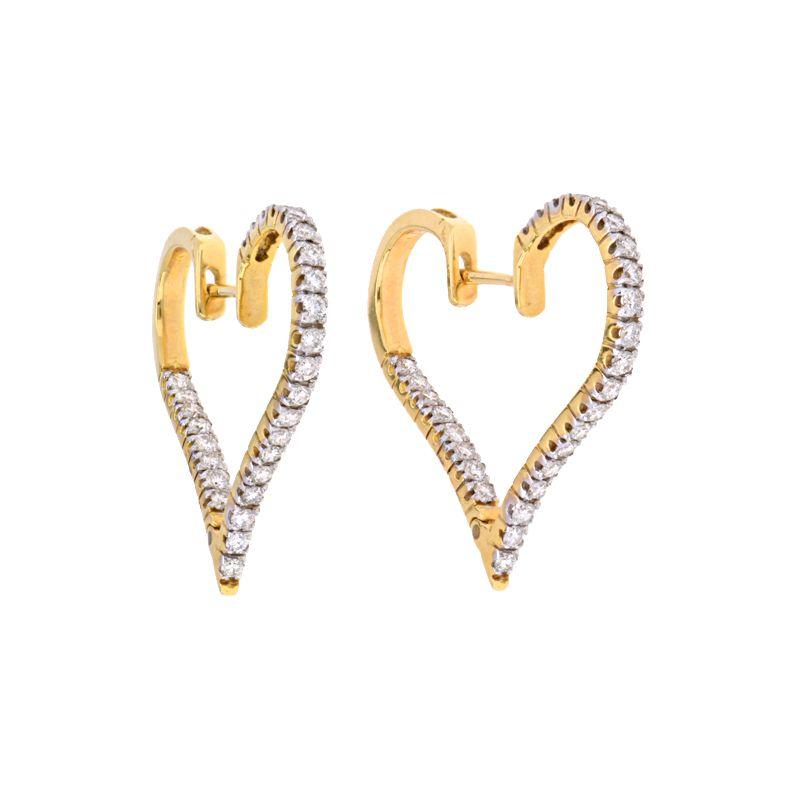18k Diamond Diamond Heart Hoops