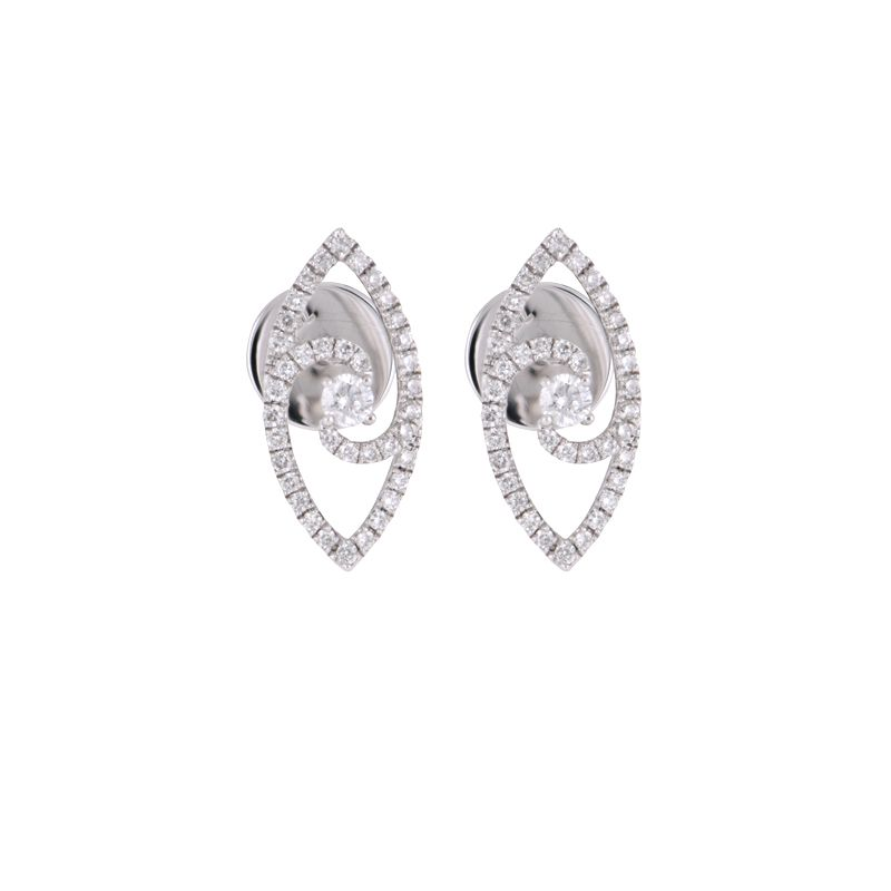 18k Diamond Leavette Diamond Earrings
