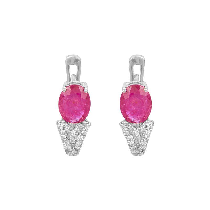 18k Diamond Diamond Ruby Huggies