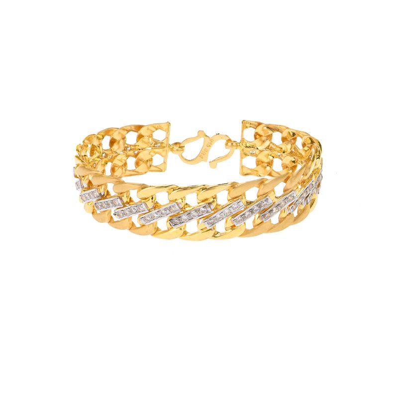 22k Gold Broad Band Men's Bracelet