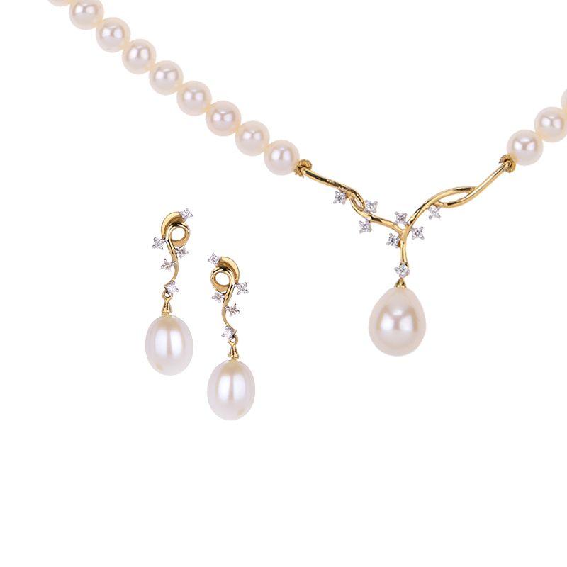 18k Diamond Pearl Diamond Necklace Set