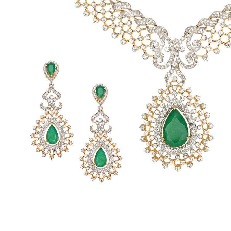 18k Diamond Emerald Drop Diamond Necklace