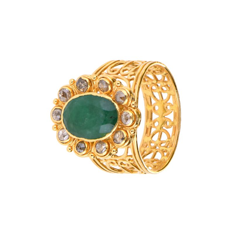 22k Diamond Uncut Diamond Emerald Ring