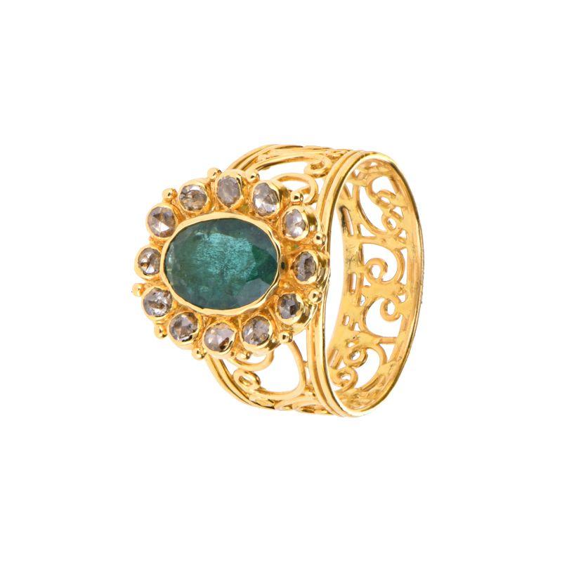 22k Diamond Emerald Diamond Ring