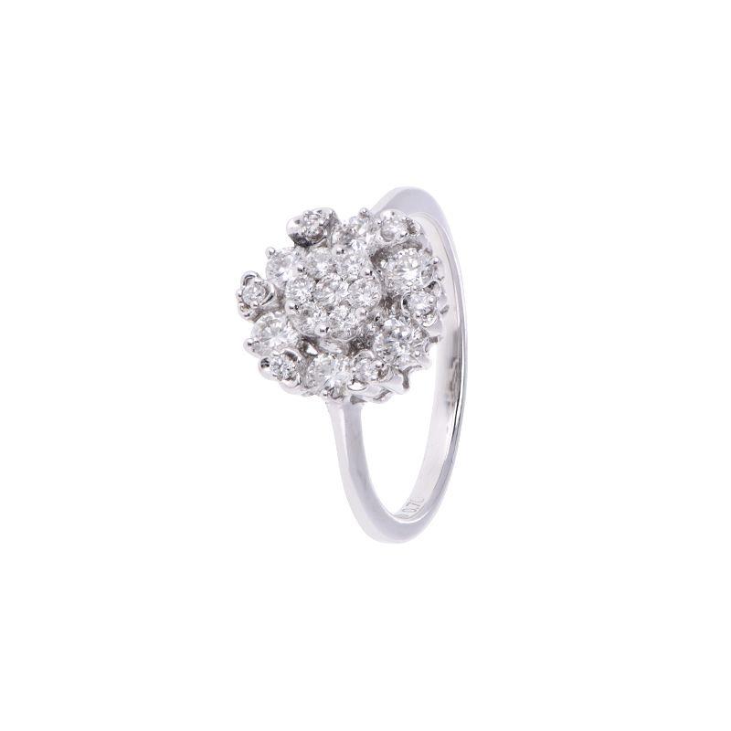 18k Diamond Big Floret Diamond Ring