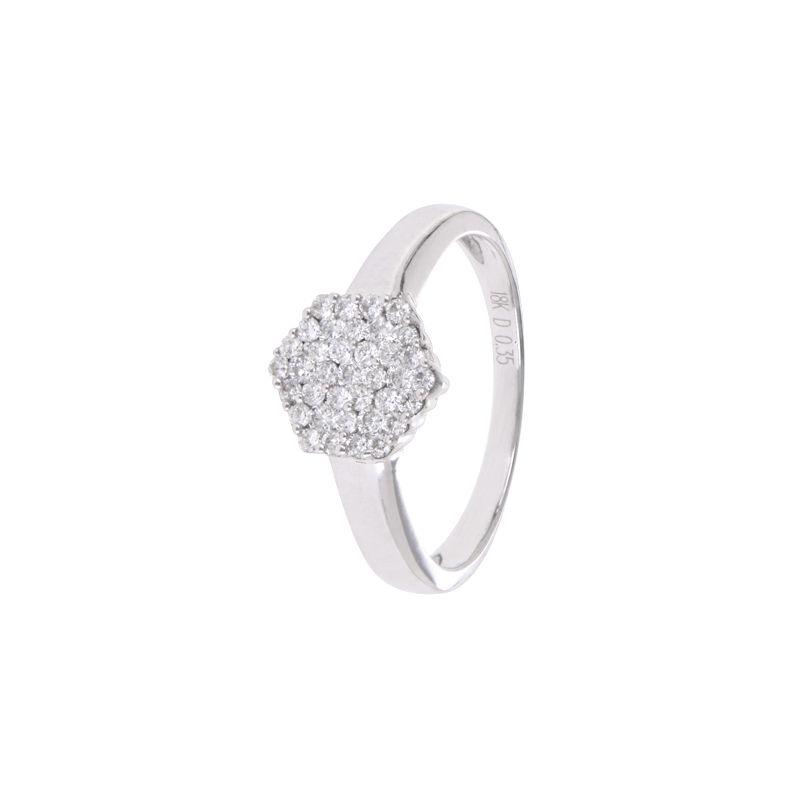 18k Diamond Pentagon Design Diamond Ring