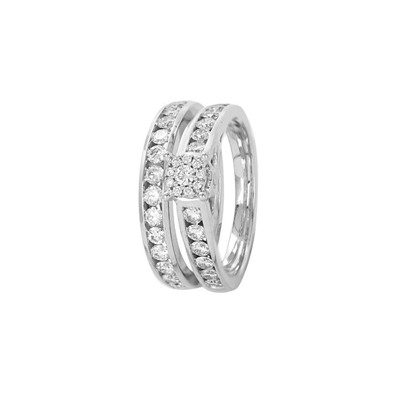 18k Diamond Channel Diamond Ring Set