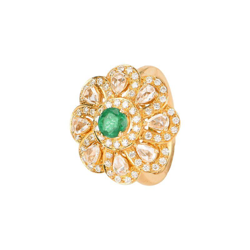 18k Diamond Rose Cut Cocktail Ring