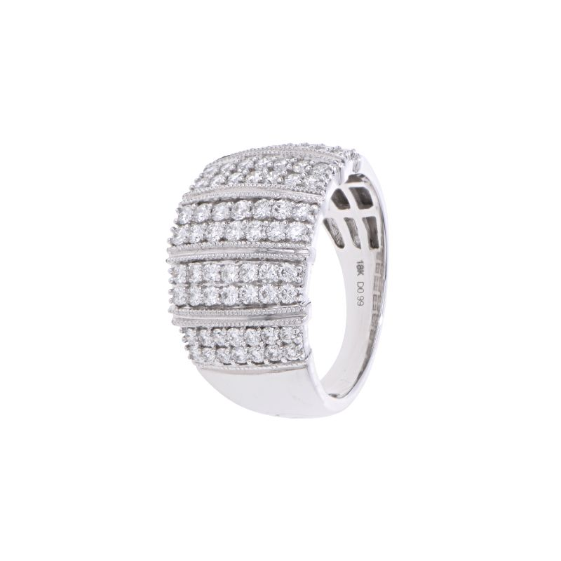 18k Diamond Cluster Lines Cocktail Band