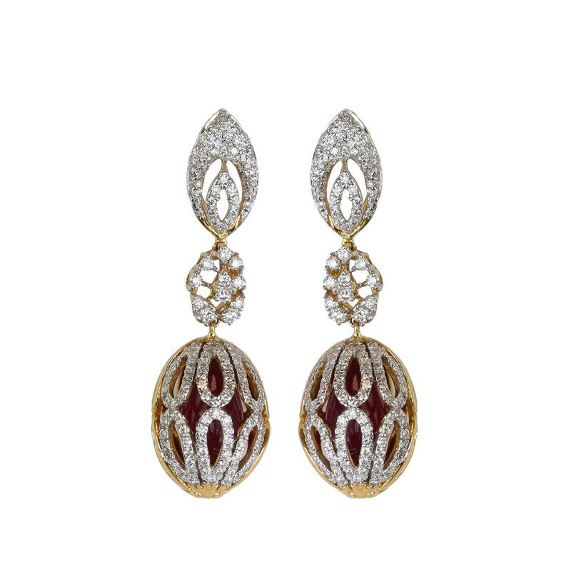 18k Diamond Ruby Diamond Earrings
