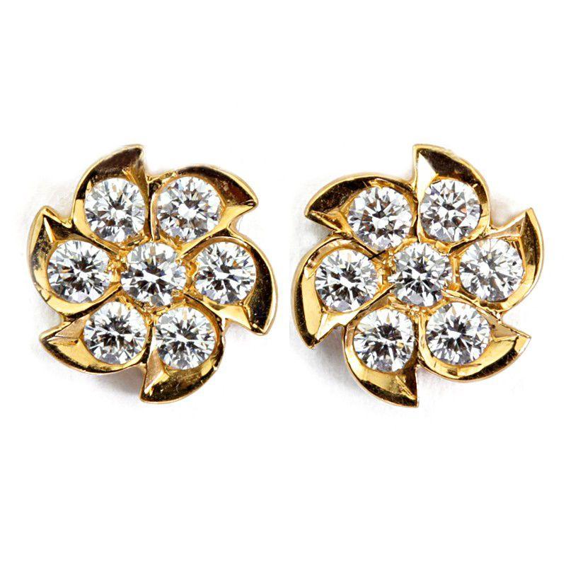 22k Diamond Floret Diamond Studs