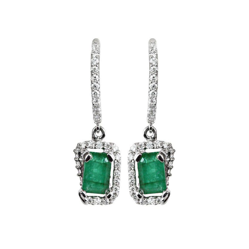 18k Diamond Emerald Diamond Drops