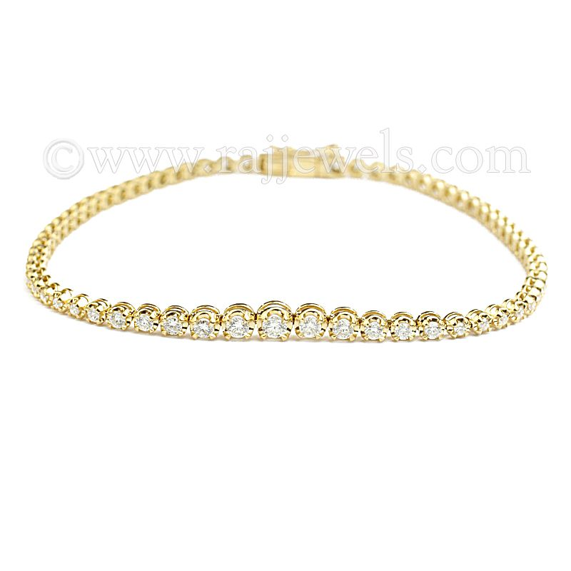 18k Diamond Yellow Gold Tennis Bracelet