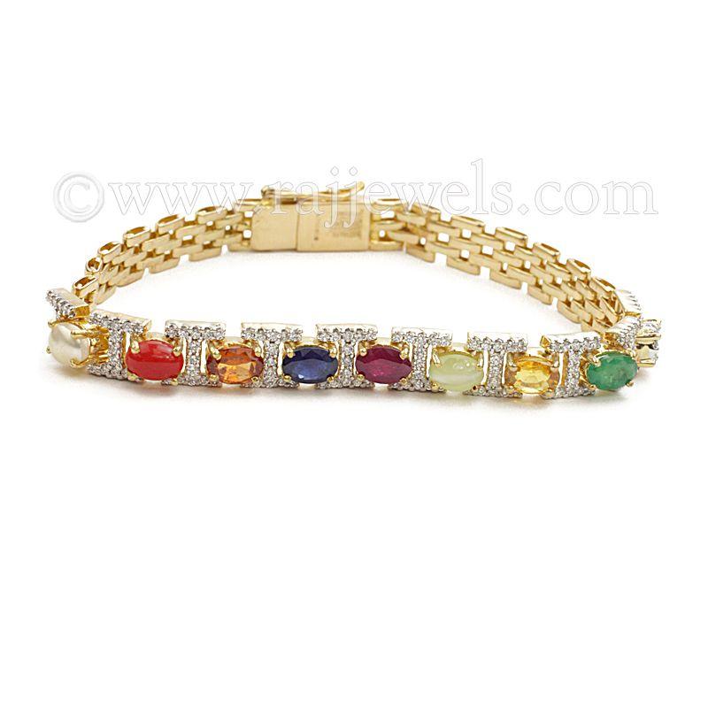 18k Diamond Unisex Navratna Bracelet