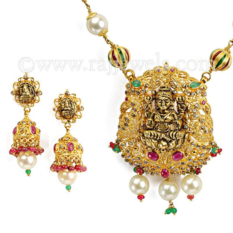 22k Diamond Laxmi Uncut Diamond Necklace