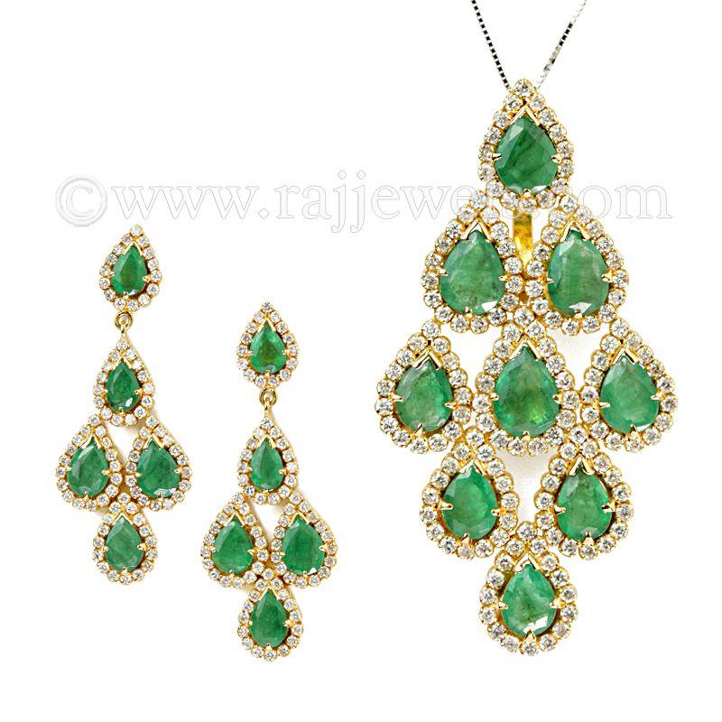 18k Diamond Designer Emerald Pendant Set
