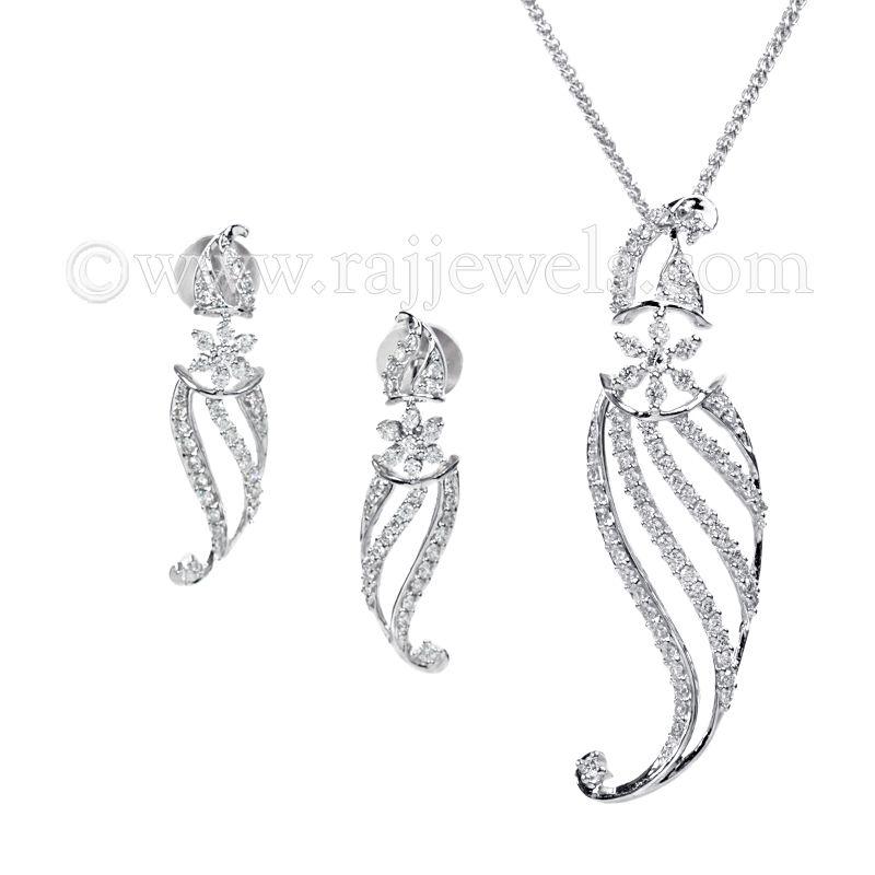 18k Diamond Floral Arch Pendant Necklace