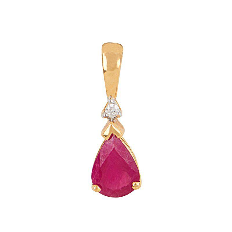 18k Diamond Diamond Ruby Drop Pendant