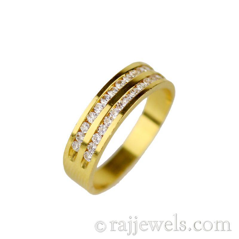 22k Gold CZ Ribbon Wedding Band